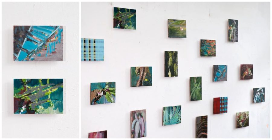 Installatie acrylverf op paneel. 19 stuks, 2012